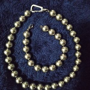 "Metal ball jewelry, 19"" necklace, bracelet."